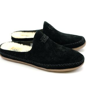 UGG Tamara Suede Black Sheepskin Slides Loafers